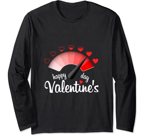 Happy Valentines Day Love Meter Red Heart Long Sleeve T Shirt