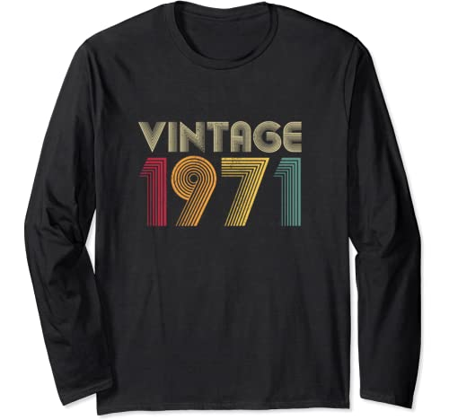 Vintage 1971 50th Birthday Gift Retro Men Women 50 Years Old Long Sleeve T Shirt