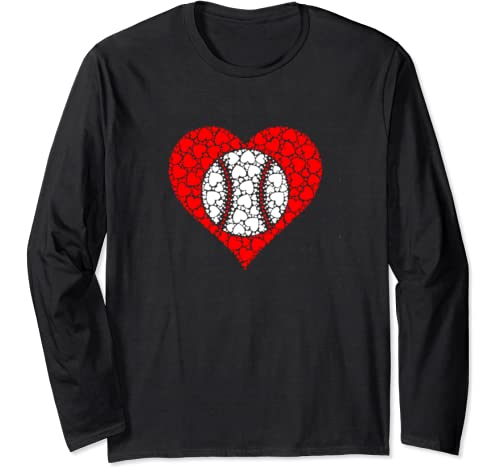 Sports Baseball Ball Red Love Shaped Heart Valentines Day Long Sleeve T Shirt