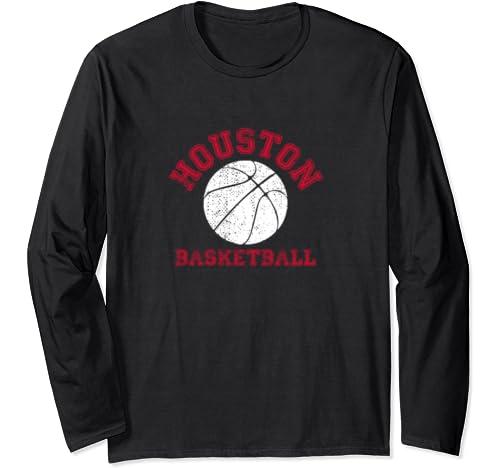 Houston Distressed Pro Basketball Fan Vintage Retro Team Long Sleeve T Shirt