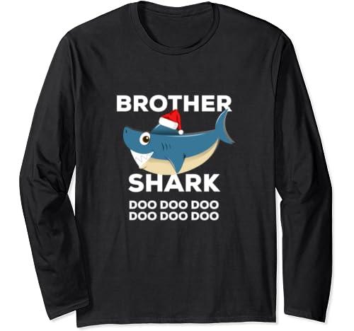 Brother Shark Christmas   Matching Family Christmas Long Sleeve T Shirt