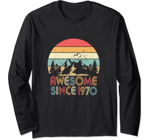 50th Birthday Vintage Gift 50 Years Old 1970 Retro Long Sleeve T Shirt