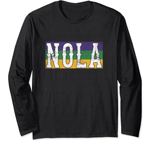 Funny Distressed Vintage Mardi Gras Nola Retro New Orleans Long Sleeve T Shirt