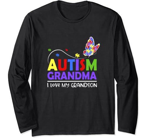 Autism Awareness Tshirt Grandma I Love My Grandson Gifts Long Sleeve T Shirt