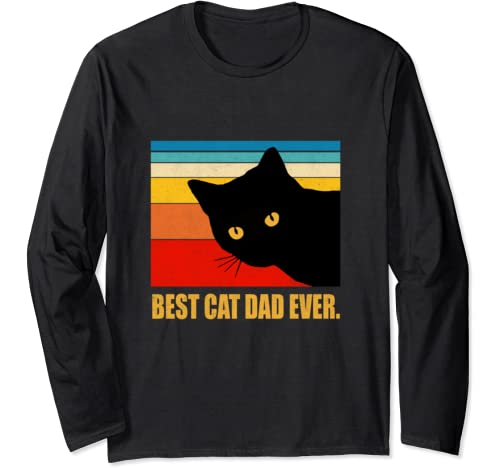 Best Cat Dad Ever Vintage Mens T Shirt Black Cat Daddy Tee Long Sleeve T Shirt