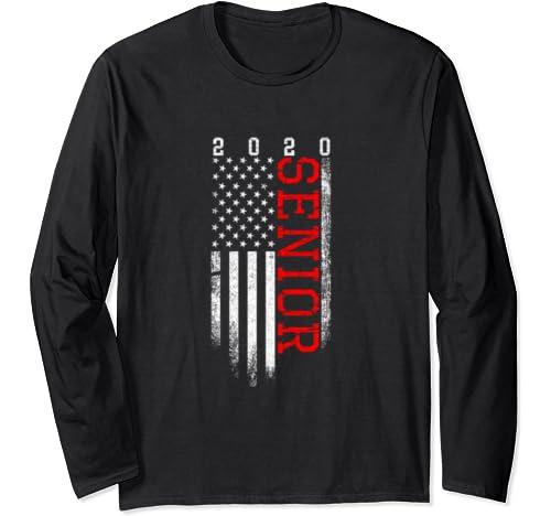 Us Flag Senior Class Of 2020 Graduate Gift Long Sleeve T Shirt