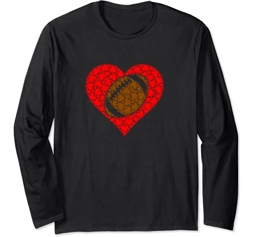 Sports Football Ball Red Love Shaped Heart Valentines Day Long Sleeve T Shirt