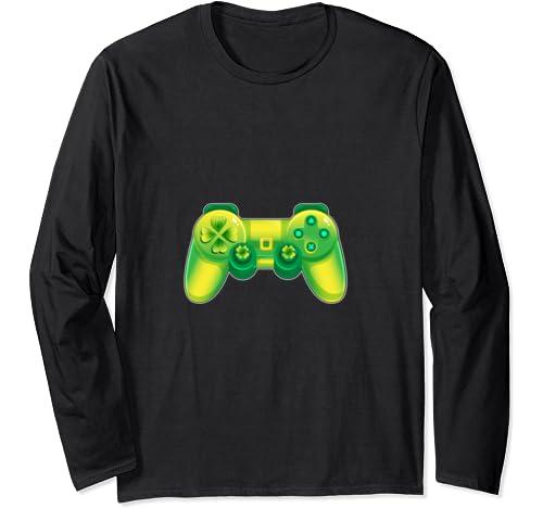 Saint Patrick Gamer T Shirt Funny Gamer Apparel Womens Mens Long Sleeve T Shirt