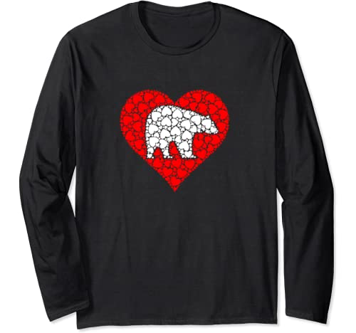 Cute Bear In Red Love Shaped Heart Valentines Day Long Sleeve T Shirt