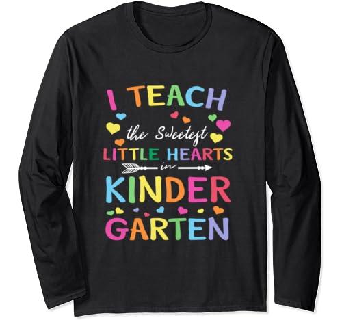I Teach The Sweetest Little Hearts Valentines Day Teache Long Sleeve T Shirt