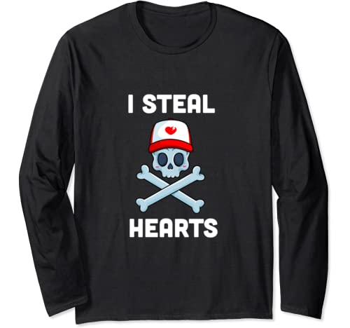 I Steal Hearts Valentines Day Pirate Boys Valentine Boy Long Sleeve T Shirt