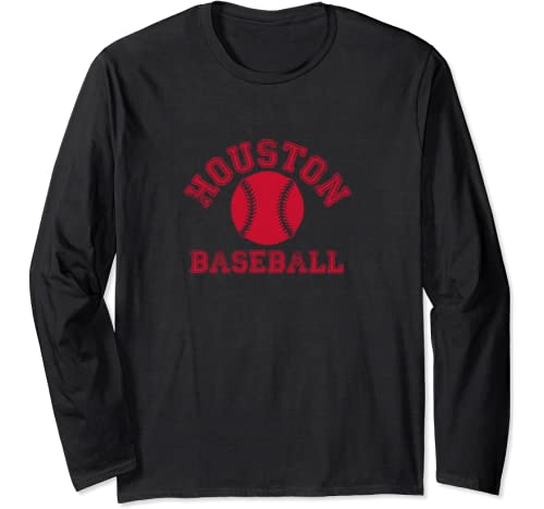 Houston Distressed Pro Baseball Fan Vintage Retro Team Long Sleeve T Shirt