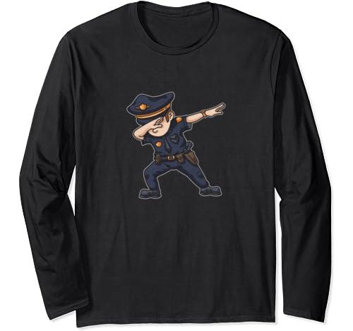 Dabbing Police Funny Policeman Dab Dance Law Enforcer Cops Long Sleeve T Shirt