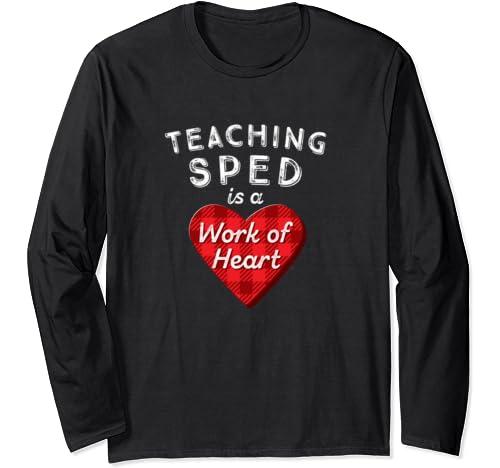 Sped Teacher Gift Valentines Day T Shirt Plaid Work Of Heart Long Sleeve T Shirt
