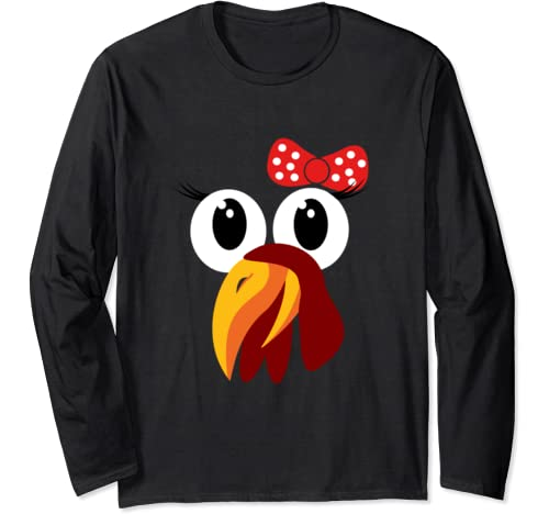 Funny Girl Turkey Face With Bow Turkey Trot Cute Running Long Sleeve T Shirt