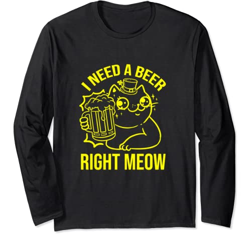 I Need A Beer Right Meow St Patricks Day Cat Long Sleeve T Shirt