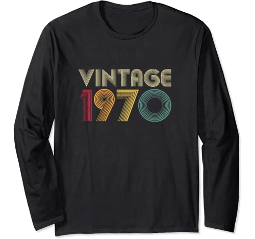 1970 50th Birthday Gift Vintage Retro Men Women 50 Years Old Long Sleeve T Shirt