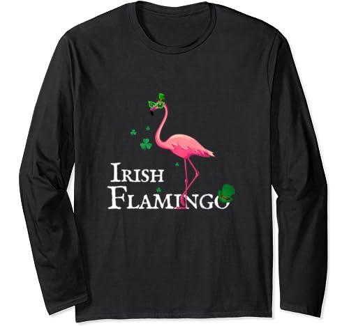 Funky Irish Pink Flamingo Green Bird St Pattys Day Long Sleeve T Shirt