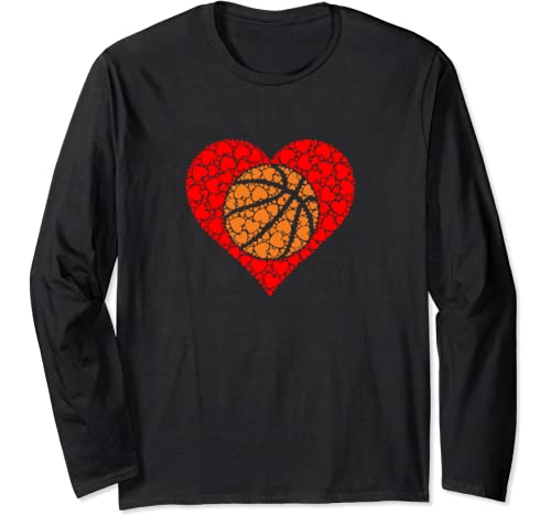 Sports Basketball Ball Red Love Shaped Heart Valentines Day Long Sleeve T Shirt