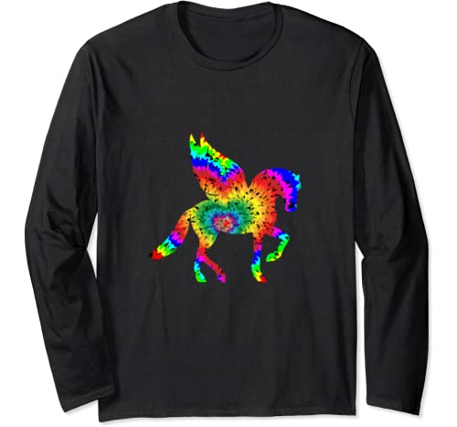 Pegasus Winged Horse Tie Dye Rainbow Trippy Hippie Long Sleeve T Shirt