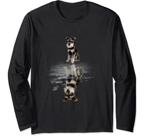 Schnauzer Reflection Funny Father's Day Gift Long Sleeve T Shirt