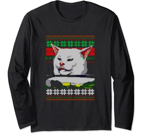Woman Yelling at a Cat Ugly Christmas Sweater Meme Outfit Langarmshirt