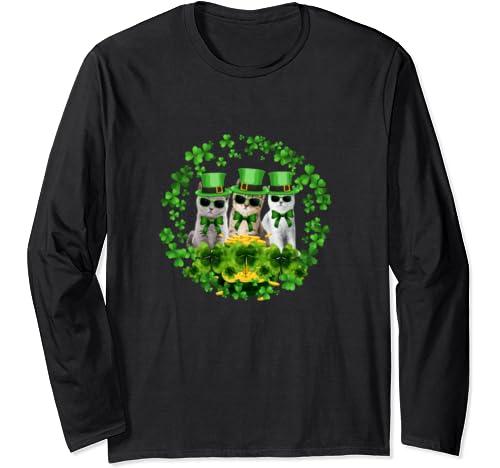 Cute Three Cats St Patrick Gift Kitty Kitten Irish Lover Long Sleeve T Shirt