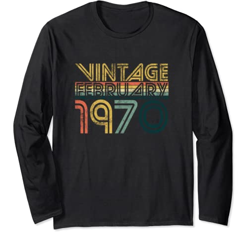 Cool 50th Birthday Gifts 50 Years Old Vintage February 1970 Long Sleeve T Shirt