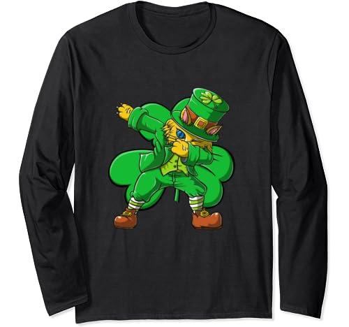 Dabbing Leprechaun Cat Boys Girls Gifts Dab St Patricks Day Long Sleeve T Shirt