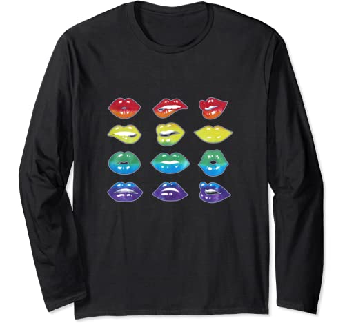 Tie Dye Lip Mood Mouth Lgbtq Pride Rainbow Colors Ally Gift Long Sleeve T Shirt