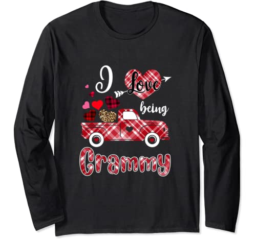 I Love Being Grammy Red Plaid Truck Heart Valentines Day Long Sleeve T Shirt