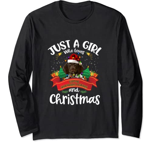Just A Girl Who Loves German Shorthaired Pointer & Christmas Long Sleeve T Shirt