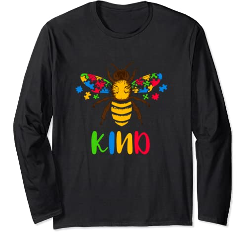 Be Kind Shirt Graphic Bee Kind Puzzle Pieces Family Autism Long Sleeve T Shirt