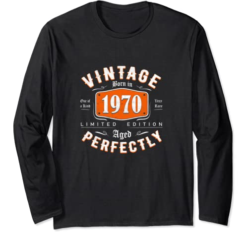 Retro Vintage 1970 Tee 50th Birthday Gift For Men Women Long Sleeve T Shirt