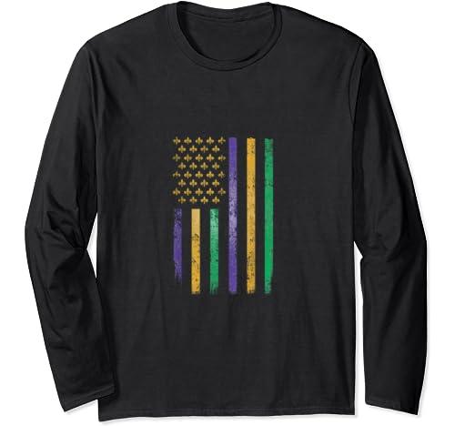 Us Mardi Gras Flag   Celebration Outfit For Men & Women Long Sleeve T Shirt