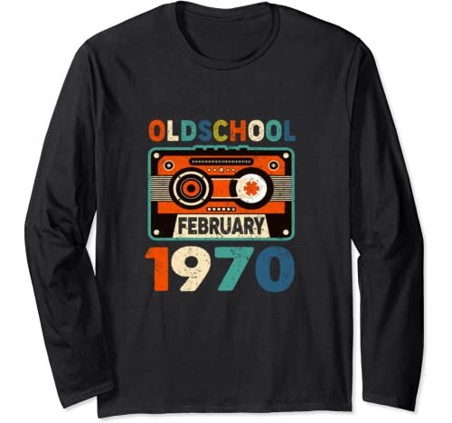 February Oldschool 1970 Mix Tape 50th Birthday Gifts 50 Yrs Long Sleeve T Shirt