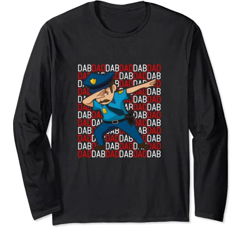 Dab Dad Dabbing Policeman Police Officer Father's Day Gift Long Sleeve T Shirt
