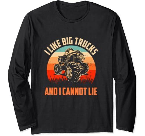 I Like Big Trucks And I Cannot Lie L Retro Sun Monster Truck Long Sleeve T Shirt