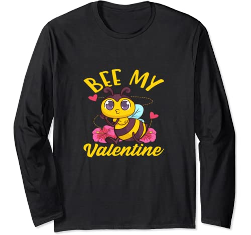 Bee My Valentine Heart Cute Funny Valentine's Day Girl Kid Long Sleeve T Shirt