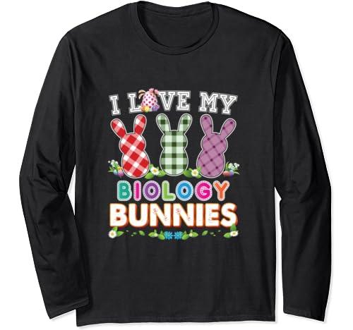 I Love My Biology Bunnies Easter Peeps Teacher Egg Hunt Love Long Sleeve T Shirt
