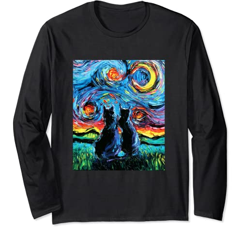 Two Black Cats On A Starry Night Colorful Art By Aja Long Sleeve T Shirt