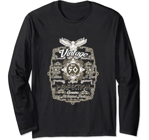50th Birthday Shirts For Men Funny 50 Old Vintage Perfection Long Sleeve T Shirt