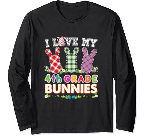I Love My 4th Grade Bunnies Fourth Easter Peeps Teacher Egg Long Sleeve T Shirt