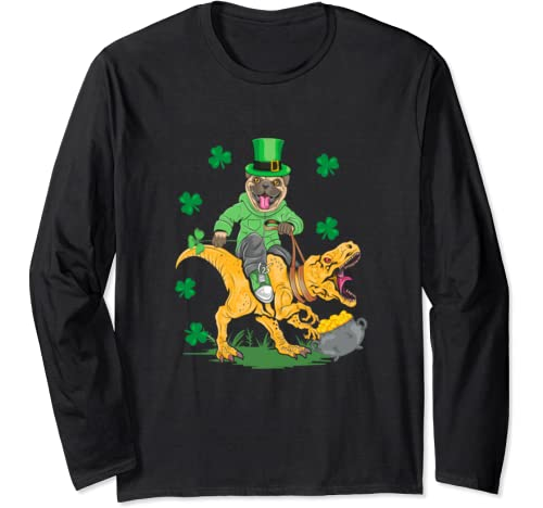 Funny St Patricks Day Pug Leprechaun Dinosaur Happy Pat T Rex Long Sleeve T Shirt