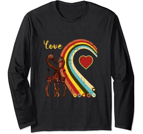 Retro Style Giraffe Love Vintage Cute T Shirt Hoodie Long Sleeve T Shirt