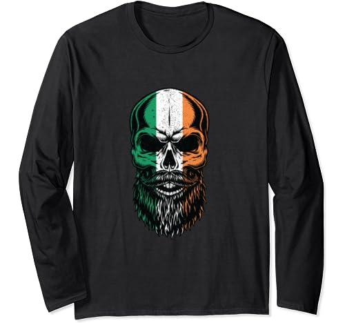 Irish Flag Bearded Skull Head Saint Patricks Day Long Sleeve T Shirt