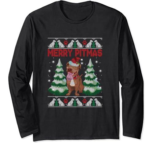 Ugly Christmas Sweaters Christmas Pitbul Merry Pitmas Shirt