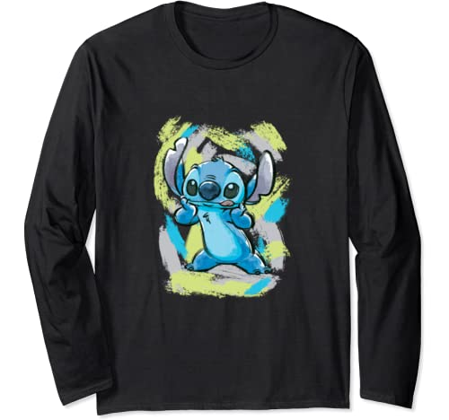 Disney Lilo And Stitch Watercolor Brushstrokes Long Sleeve T Shirt