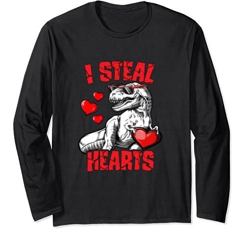 Valentines Day Dinosaur I Steal Hearts Trex Funny Boys Kids Long Sleeve T Shirt