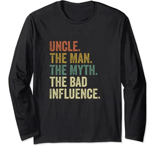 Camiseta antigua del mito del Tío Hombre Mala Influencia. Manga Larga: Amazon.es: Ropa y accesorios